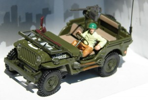 Jeep Willys US Army with gun Cararama 1:43